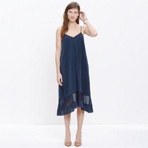Madewell sheer panel silk cami midi dress size M